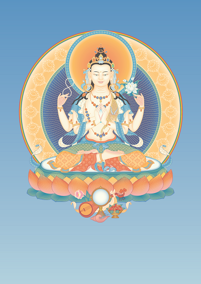 Avalokiteshvara (4-armed) 2 with offerings and background